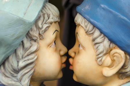 dutch girl: First kiss Stock Photo