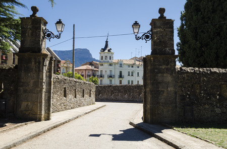 northern spain: Architecture in Jaca, northern Spain Stock Photo