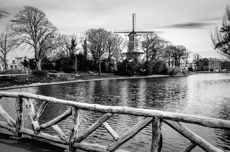 holland windmill: Black and white urban landscape, Alkmaar, the Netherlands Stock Photo