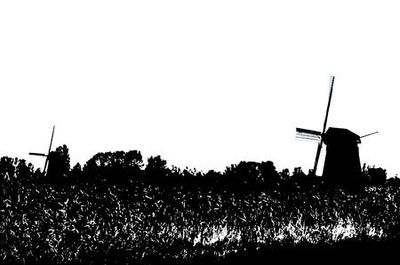 slhouette: Dutch windmill slhouette Stock Photo
