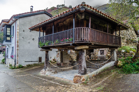 Traditional rustic wooden house in Asturias, northern Spain Editorial