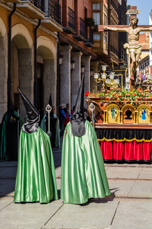 PALENCIA, SPAIN - MARCH 24, 2016: Traditional Spanish Holy Week (Semana Santa) procession on Holy Thursday in the streets of Palencia (Castilla y Leon), Spain