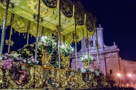 PALENCIA, SPAIN - MARCH 24, 2016: Traditional Spanish Holy Week (Semana Santa) procession on Holy Thursday night in the streets of Palencia (Castilla y Leon), Spain Standard-Bild - 97817078