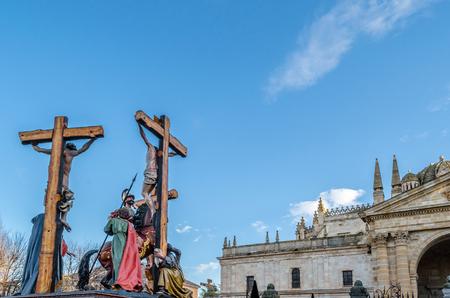 ZAMORA, SPAIN - MARCH 25, 2016: Traditional Spanish Holy Week (Semana Santa) procession on Holy Friday in the streets of Zamora(Castilla y Leon), Spain Editorial