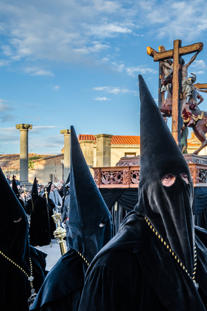 ZAMORA, SPAIN - MARCH 25, 2016: Traditional Spanish Holy Week (Semana Santa) procession on Holy Friday in the streets of Zamora(Castilla y Leon), Spain Editorial