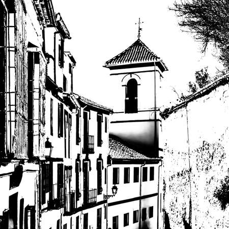 Church in Granada, Andalusia, southern Spain, black and white silhouette