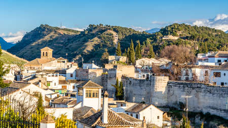 Urban landscape, Granada city view at sunset, Andalusia, southern Spain