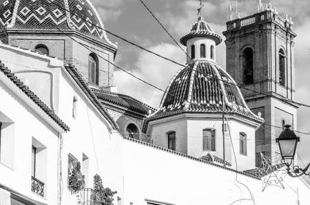 Beautiful Church of Our Lady of Consolation in the Mediterranean village of Altea, Alicante province, Spain; black and white image