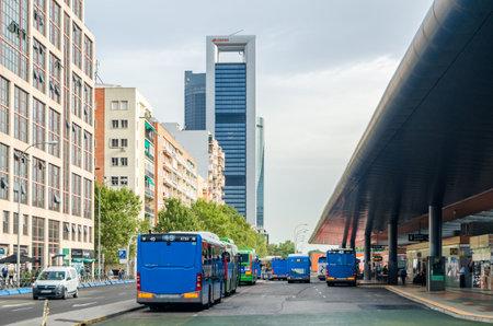 MADRID, SPAIN - SEPTEMBER 13, 2021: Exterior view of Plaza de Castilla transport hub in Madrid, Spain, a major transport node of the city