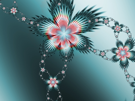 Color fractal flowers for print on background