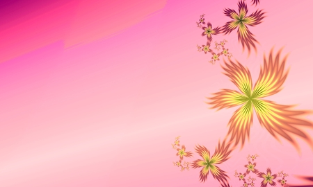 Fractal flower, digital artwork for creative graphic design. Template for inserting text. Stock Photo