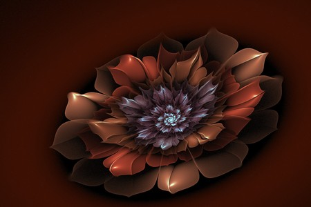Dark fractal flower, digital artwork for creative graphic design.