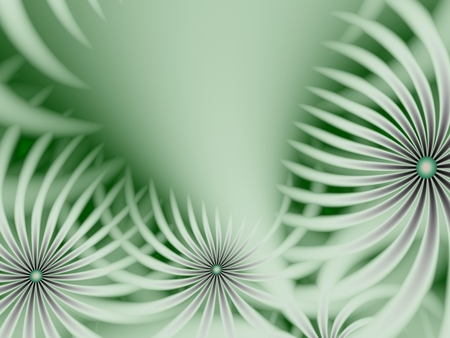 Fractal image, beautiful template for inserting text in green and white color. Background with flower. Floral template with space for text. Graphic design for business cards and like. Archivio Fotografico