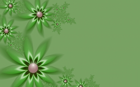 Fractal image, beautiful template for inserting text, in color green. Background with flower. Floral template with space for text. Graphic design for business cards and like. Stock Photo
