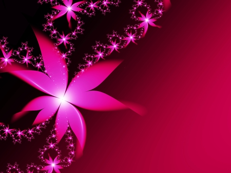 Fractal image, beautiful template for inserting text, in color red and pink. Background with flower. Floral template with space for text. Graphic design for business cards and like.