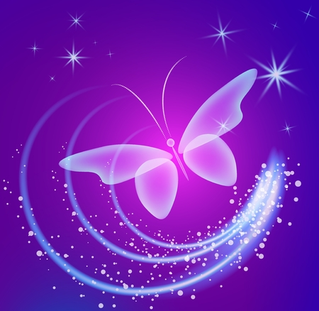 Glowing background with magic butterflies and sparkling stars. Transparent butterfly and glowing stars.