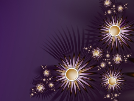 Fractal image, beautiful template for text, in purple color. Background with flower. Floral template with space for text. Graphic design for business cards and like.