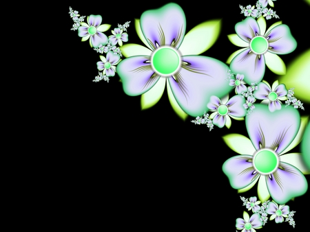 Fractal image, beautiful template for inserting text, in color black and white. Background with flower. Floral template with space for text. Graphic design for business cards and like.