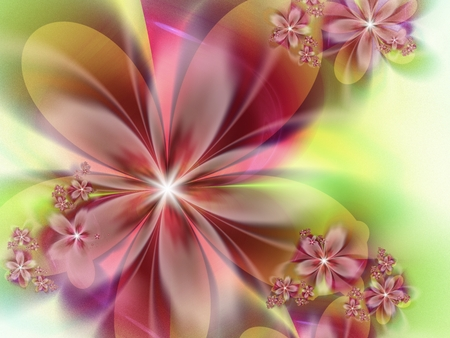 Fractal image, beautiful template for text, in pink and yellow. Background with flower. Floral template with space for text. Graphic design for business cards and like. Stock Photo