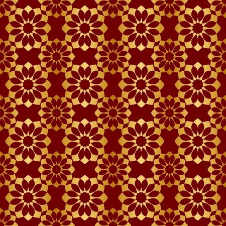 Gold and red background with seamless pattern, suitable as wrapping paper.Gold and red paper with seamless abstract pattern. Imitation of gold.