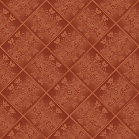 3D seamless original pattern with floral design. Regular diagonal texture with desing. Beautiful flowers on brown background.
