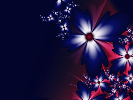 Fractal image with flowers on dark background.Template with place for inserting your text. Banco de Imagens