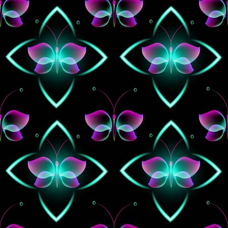 Glowing background with magic butterflies. Seamless pattern.