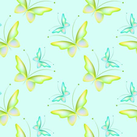 Cheerful pattern with colorful butterflies. Regular seamless pattern.