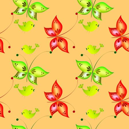 Cheerful pattern with colorful butterflies.