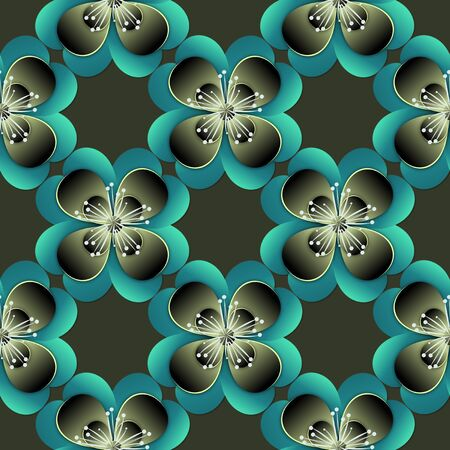 Fashion seamless pattern with flowers. Graphic design. Dark illustration. Banco de Imagens
