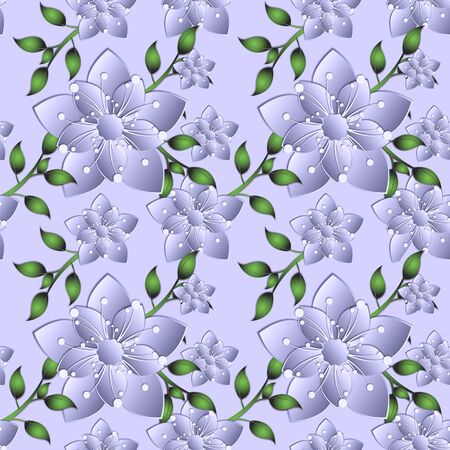 Fashion seamless pattern with plastic flowers made of cut paper. Flower in the style of a flowering tree. Japanese sakura. Graphic design. 3D illustration.