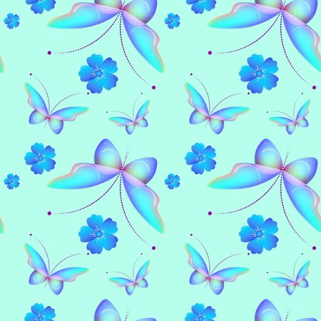 Cheerful pattern with colorful butterflies. Regular seamless pattern.Seamless pattern, funny background. Banco de Imagens