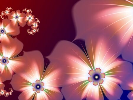 Original and futuristic background with fractal flower. Bright colorful fractal flower, digital artwork for creative graphic design. Multicolored background. Banco de Imagens