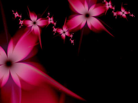 Fractal image with fantasy flowers. Template with place for inserting your text. Fractal art as red background.
