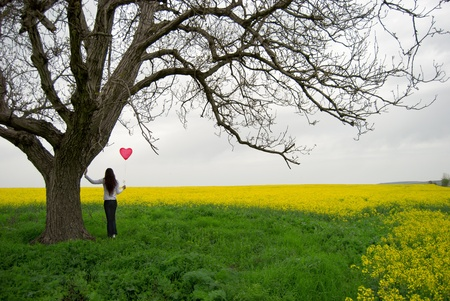 Beautiful girl with balloon in the field Stock Photo