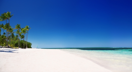 Tropical beach and blue sky, panoramic view photo
