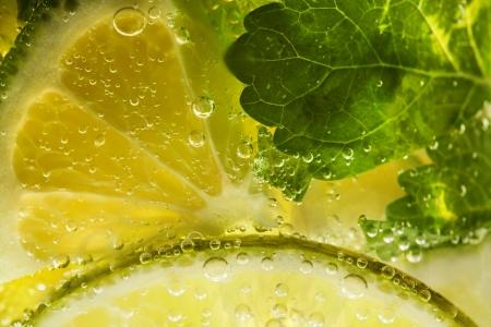 Mojito cocktail  lemon macro shot