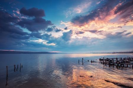 호수 HDR 이미지 일몰