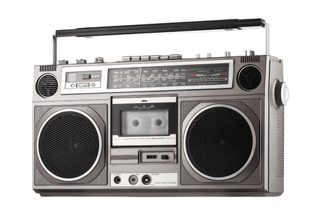 Retro ghetto blaster isolated on white with clipping path photo