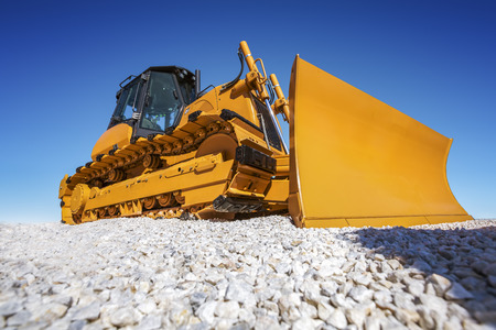 bulldozer: Heavy Bulldozer and deep blue sky