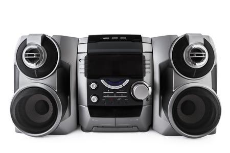 コンパクト ステレオ システム cd およびカセット プレーヤー クリッピング パスの分離 写真素材