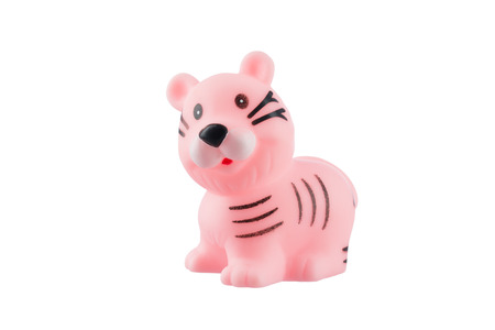 Rubber pink tiger isolated on white background photo