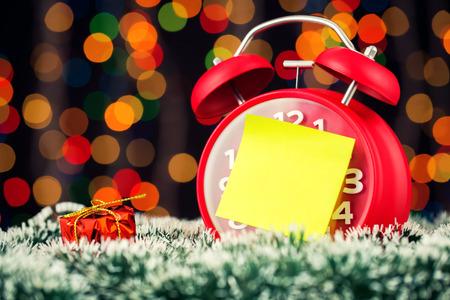 Alarm clock with christmas lights photo