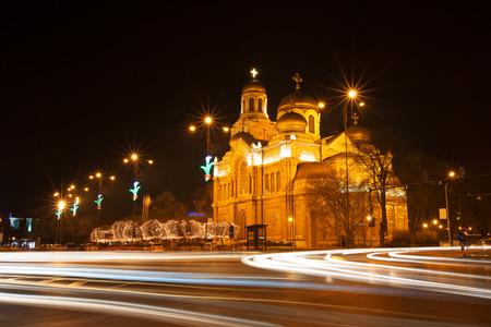 The Assumption Cathedral, Varna, Bulgaria. Illuminated at night.