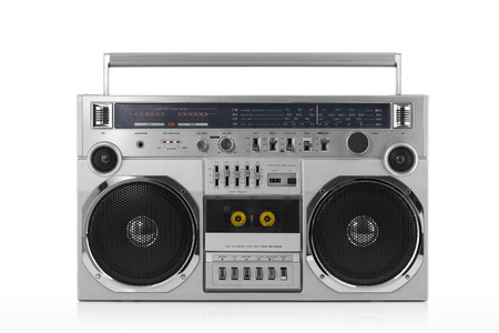 Retro ghetto blaster isolated on white with clipping path Banque d'images