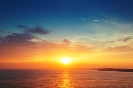 Beautiful cloudscape over the sea, sunset shot 스톡 콘텐츠