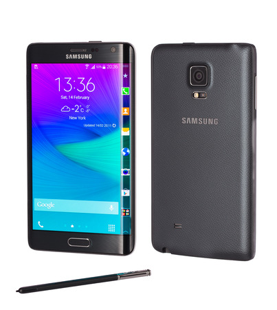 Front and back view of a black Samsung Galaxy Note Edge smartphone, with 16 mP Camera, quad-core 2,7 GHz and 5.6inch Curved edge screen display,