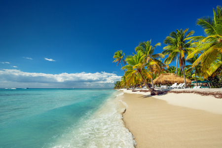 panoramic beach: Landscape of paradise tropical island beach with perfect sunny sky Stock Photo