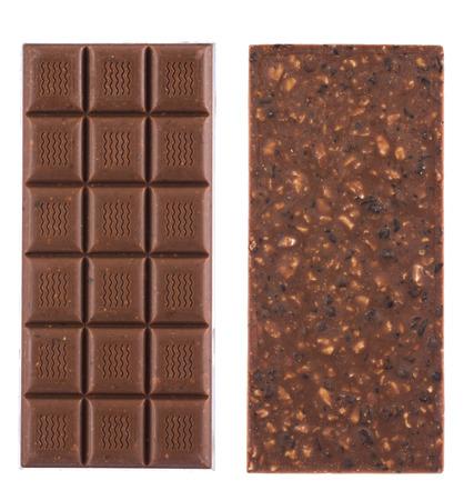 chocolate pieces: Handmade, bio chocolate isolated on white background Stock Photo