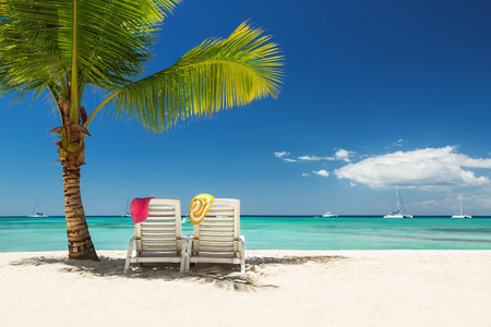 republic dominican: Relaxing on remote beach Stock Photo
